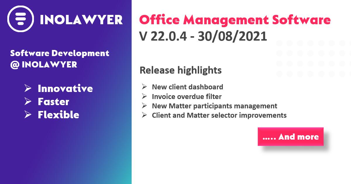 INOLAWYER Platform Release Version 22-0-4