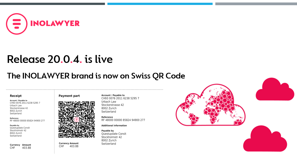 Release-20.0.4 - The INOLAWYER brand is now on Swiss QR code!